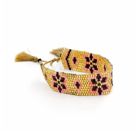 Bracelet Japonais en perles de rocailles dorées
