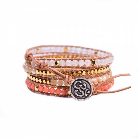 """Bracelet Wrap """"Pacifique"""" JASPE BLANCHE"""