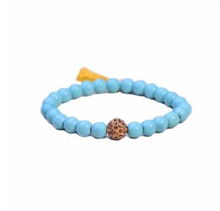 Bracelet Perles Fantaisies Turquoises 8mm