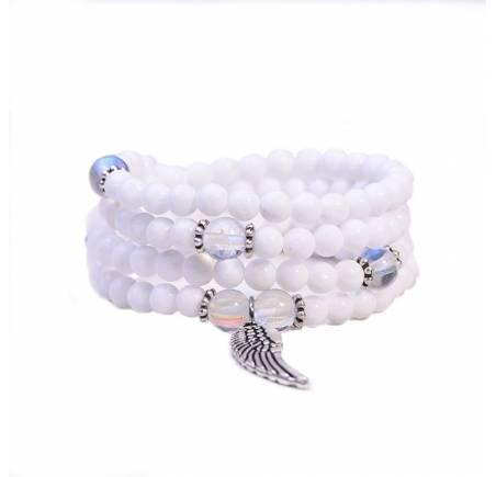 """Bracelet Mala """"MON ANGE"""" OPALE & pierres blanches 8 et 6mm"""
