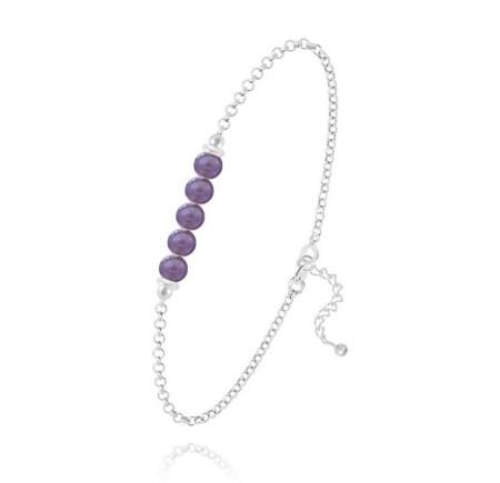 Bracelet 5 perles Améthyste
