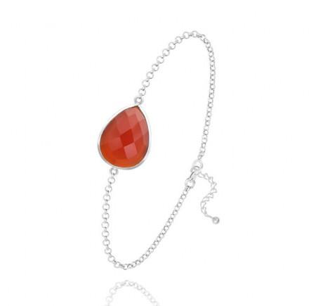 Bracelet goutte à facettes jaspe rouge