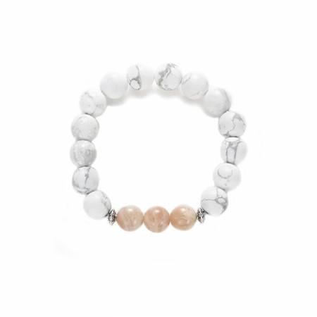 """Bracelet """"Calme de l'Esprit"""" Mix HOWLITE Mate & SUNSTONE 10mm"""
