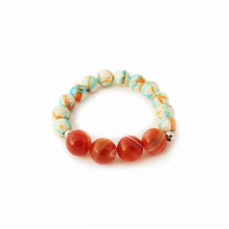 Bracelet agate rouge 14mm et turquoise 10mm