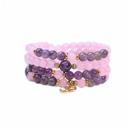 Bracelet Mala QUARTZ ROSE & AMETHYSTE 6mm