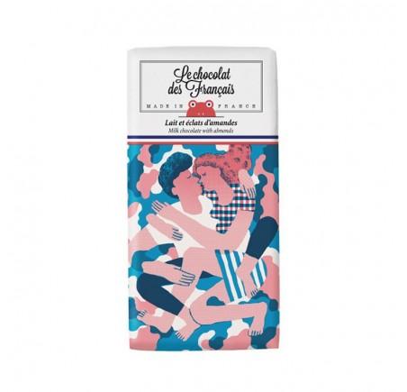 """Chocolat lait 41% et éclats d'amandes """"LE CALIN"""" BIO"""
