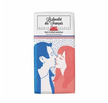 """Tablettine de chocolat noir 71% et éclats de noisettes """"LE BAISER"""" BIO"""