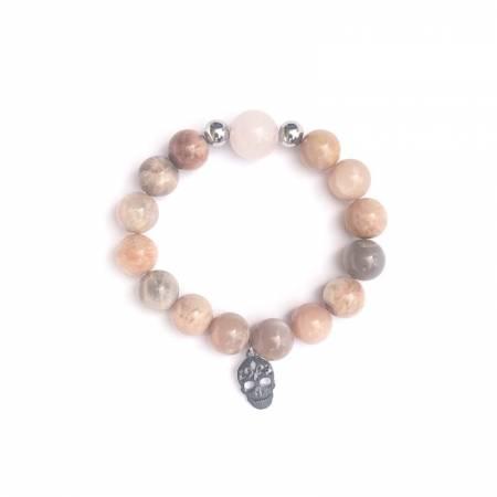 """Bracelet """"confiance en soi"""" SUNSTONE et quartz rose"""